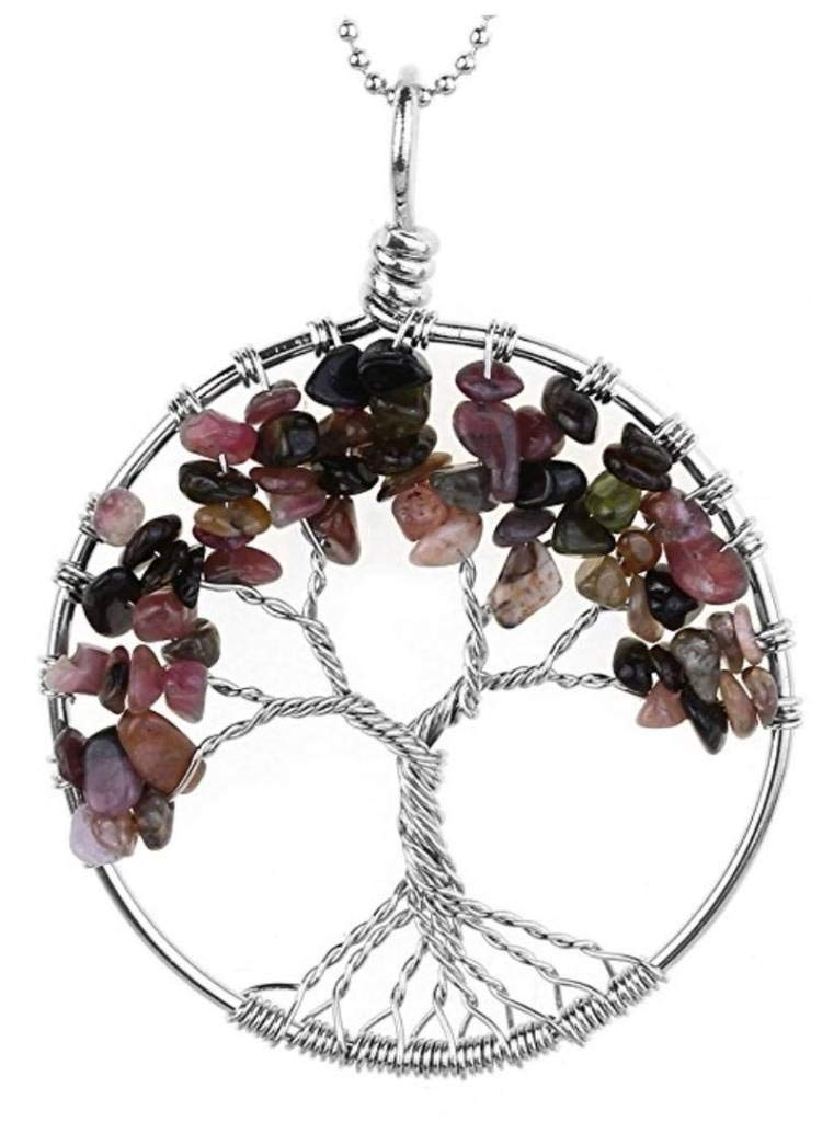 Top Quality Tree of Life Chakra Pendant Necklace Natural Tourmaline Gemstone Chakra Jewelry 26''-28'' Stainless Steel Chain Great Gift GGP9-3