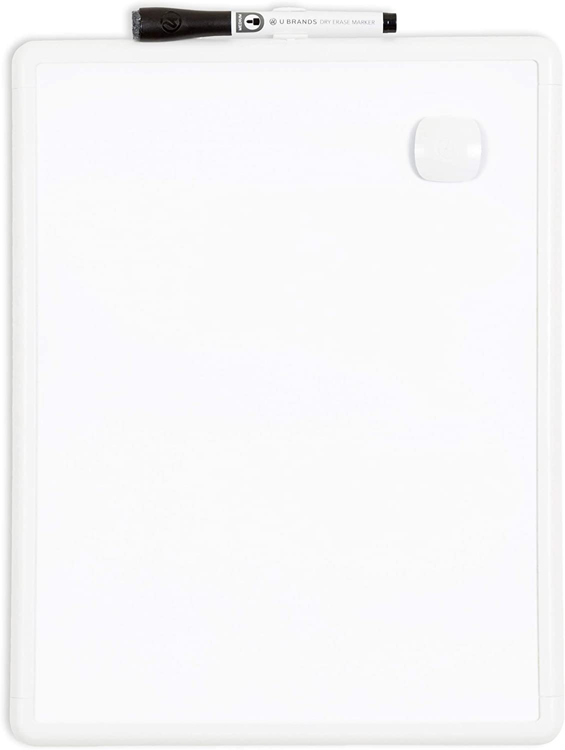 4.5 x 2.25 x 1 Inches White Frame /&  Brands Magnetic Dry Erase Board Eraser U Brands Contempo Magnetic Dry Erase Board Felt Bottom Surface 11 x 14 Inches