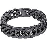 "ChainsHouse Stainless Steel Franco Link Bracelet, 8mm/12mm/17mm Width, 7.5""/8.3""/9"", 18K Gold Plated Chain Wrist Bracelets fo"