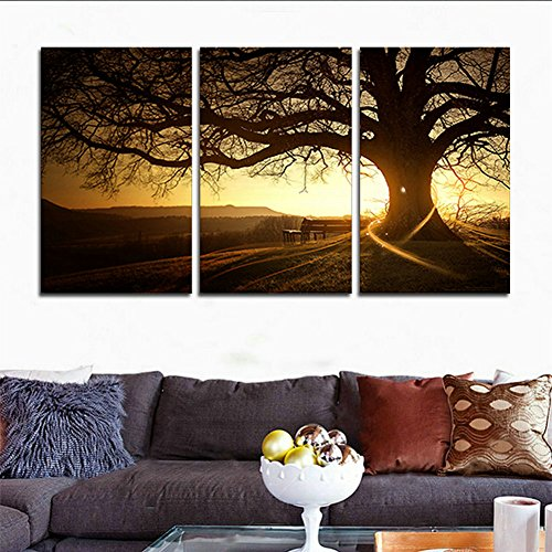 H.COZY 3 Zhang printed canvas modern painting tree image sunset canvas wall art of home decoration for the living room (No Frame ) unframed FCR0436 inch X20 inch