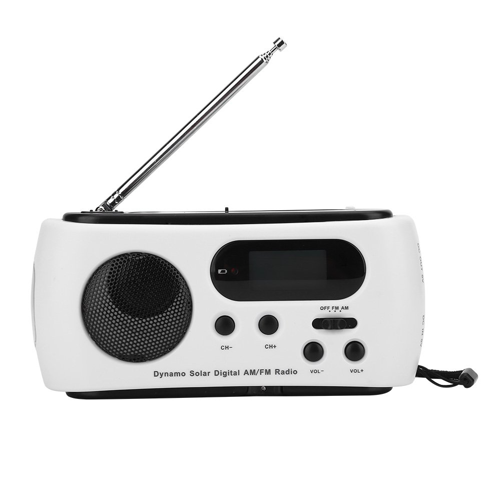 T-best Solar Hand Crank Radio Light, Portable Emergency Solar Power Hand Crank Dynamo AM/FM Radio with LED Flashlight Emergency Phone Charger with USB Charger Cable (White)