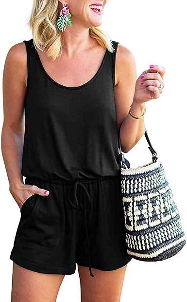 Sebaby Womens Stitch Yoga Gym Fit Tank Sleeveless Romper Playsuit Jumpsuit