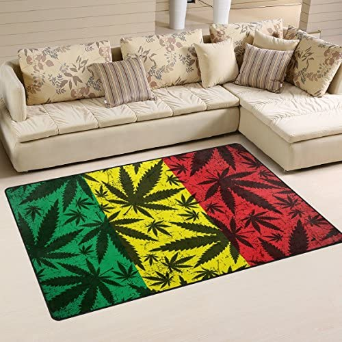 Sunlome Cannabis Leaf on Grunge Rastafarian Flag Area Rug Rugs Non-Slip Indoor Outdoor Floor Mat Doormats for Home Decor 31 x 20 inches