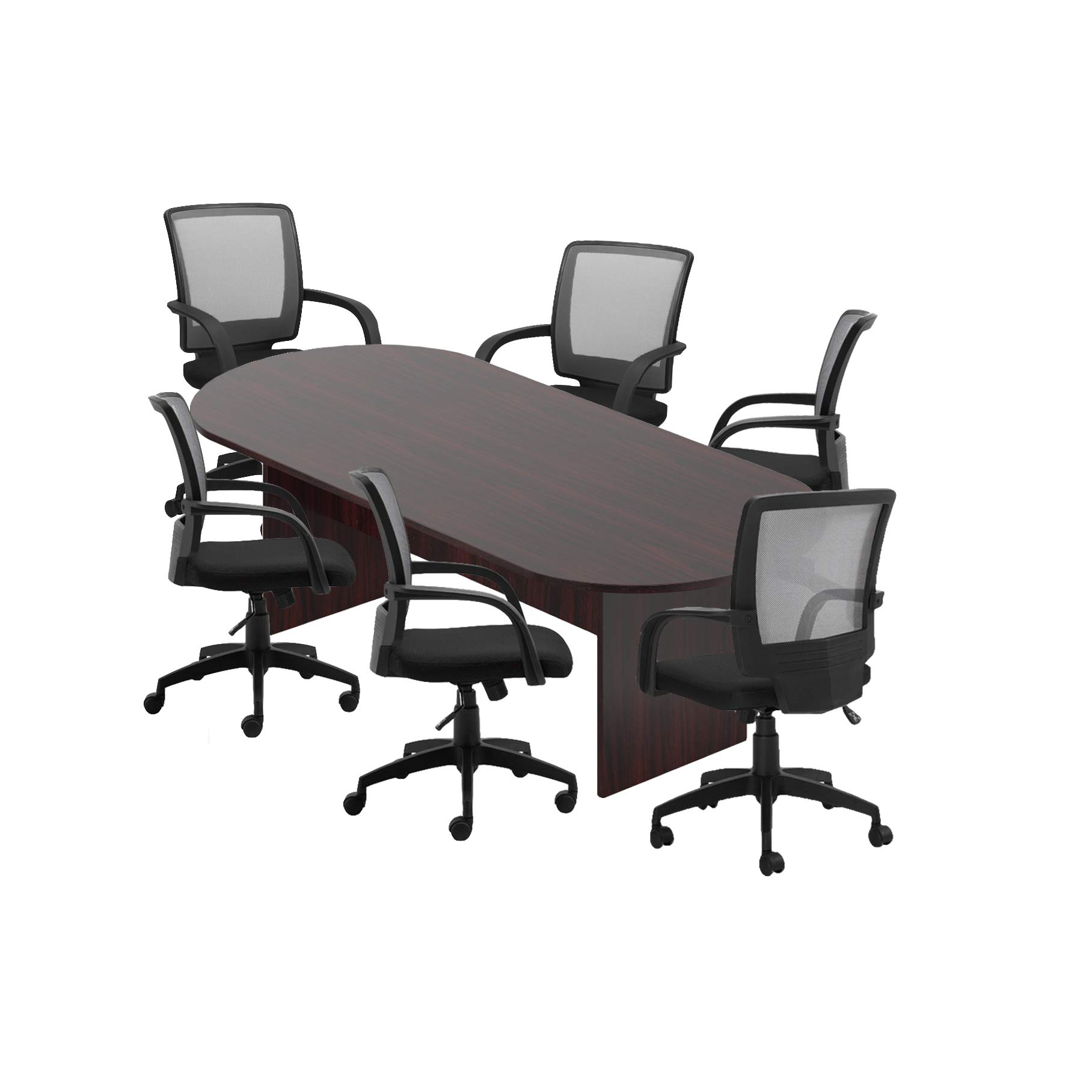 GOF 6FT, 8FT, 10FT Conference Table Chair Set, Cherry, Espresso, Mahogany, Walnut (8FT with 6 Chairs, Mahogany) by GOF (Image #1)