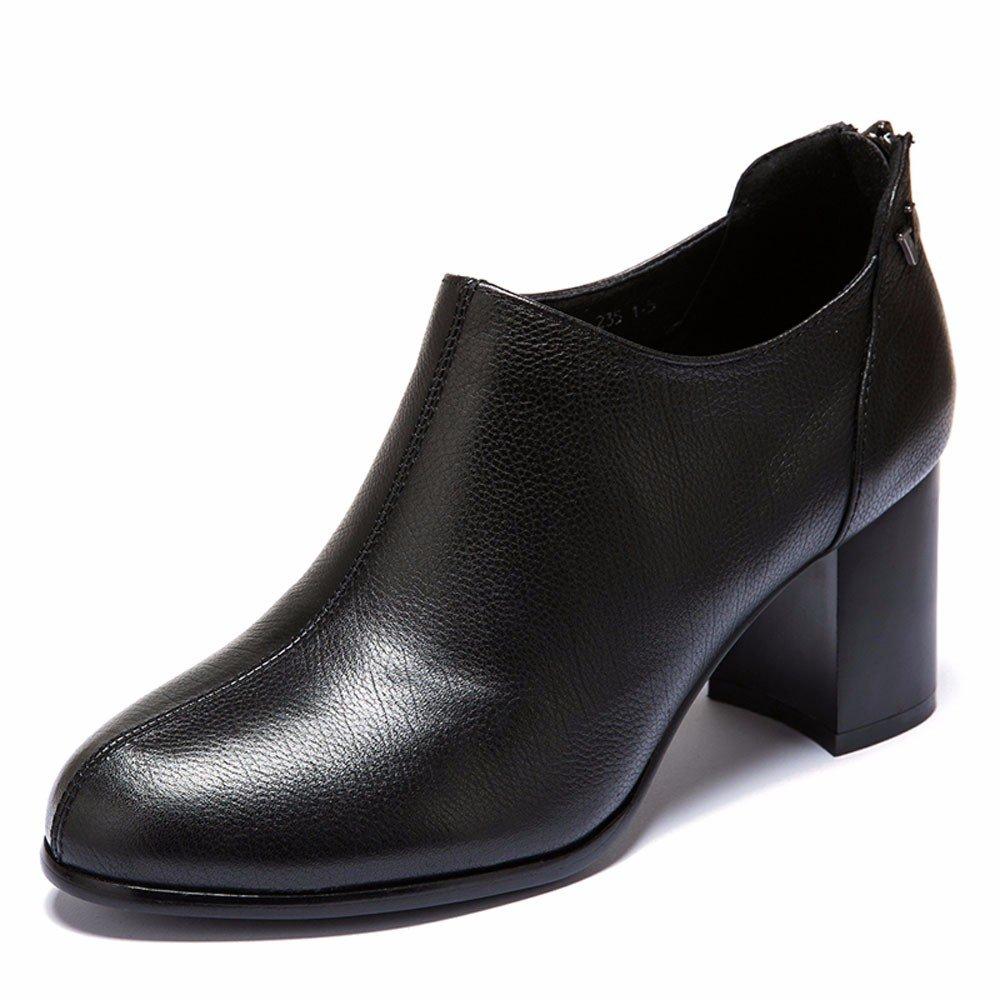 GTVERNH Dicke Sohle 7Cm 7Cm 7Cm Hohen Ferse Damenschuhe Frühling Komfortable Tiefe Mund Einzelne Schuhe Meine Damen Lederschuhe. 48a7cd