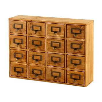 De madera 16 cajones archivadores semillas de especias diseño industriales de efecto invernadero: Amazon.es: Hogar