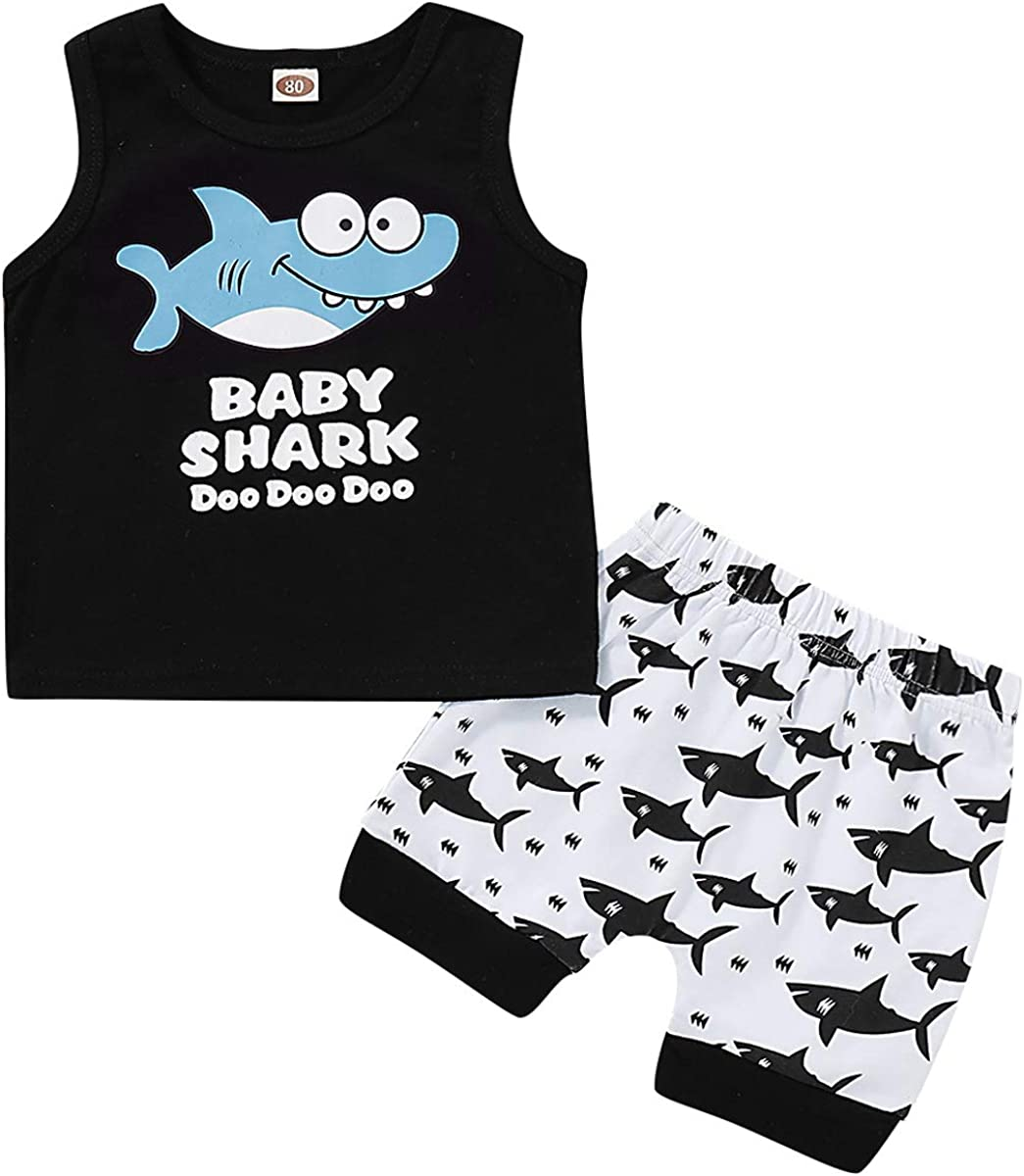 LZH Baby Boy Clothes Sets Summer Cotton Shark Print Sleeveless Tops Short Pants Outfits Sets