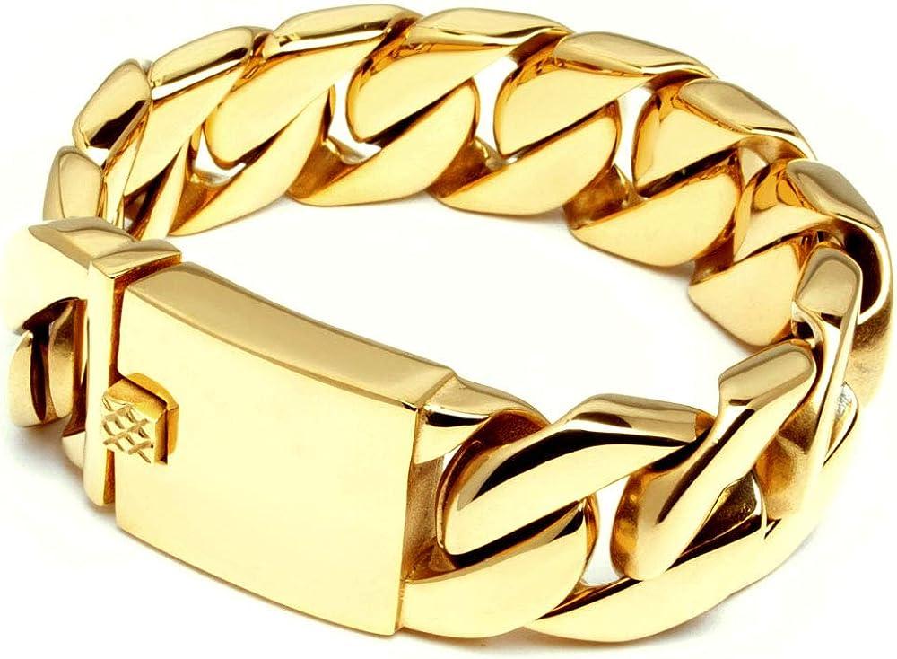 Schmuck Checker Armkette Massives XL Edelstahl Herren Armband Panzerkette Panzerarmband Gold poliert schwer breit dick hochwertig Bikerarmband