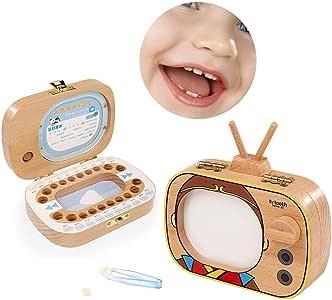 Caja organizadora para guardar dientes de bebé, caja para guardar dientes, caja de madera, caja para memorizar dientes de leche, caja de madera a: Amazon.es: Bebé