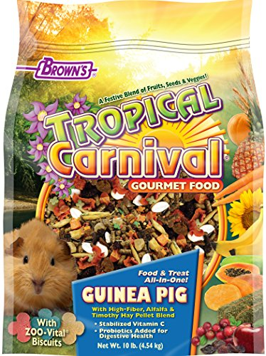 F.M. Brown's Tropical Carnival Gourmet Guinea Pig Food with Alfalfa and Timothy Hay Pellets - Vitamin-Nutrient Fortified Daily Diet (The Best Guinea Pig Food)