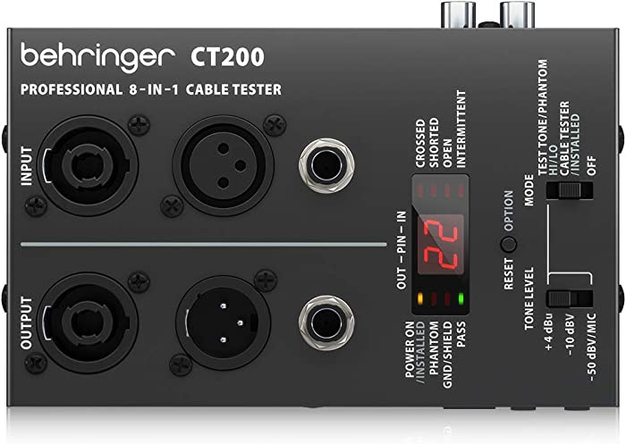 BEHRINGER CT200 Microprocessor-Controlled 8-in-1 Cable Tester Black