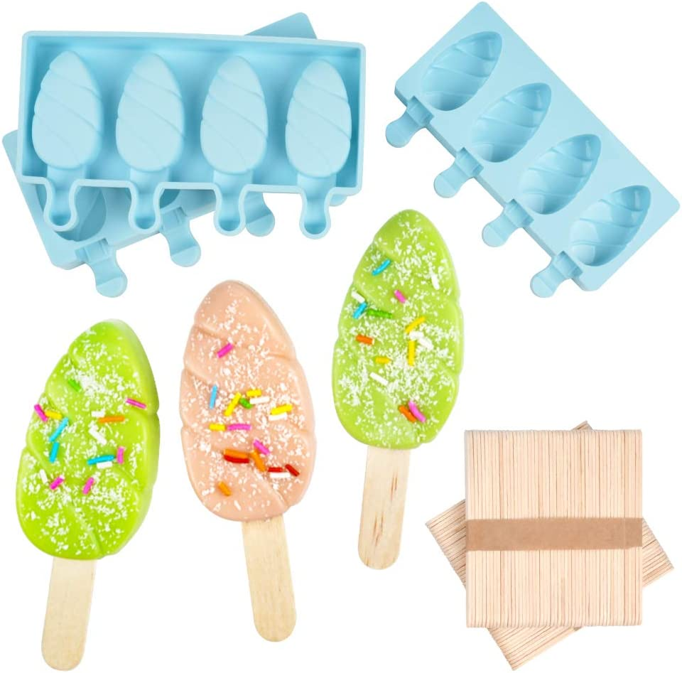 DIY Ice Cream pop maker Mold Homemade Popsicle Silicone Molds with Lid, Silicone Ice Pop Mold with 100 Wooden Sticks,4 Cavities,Set of 3,B-3