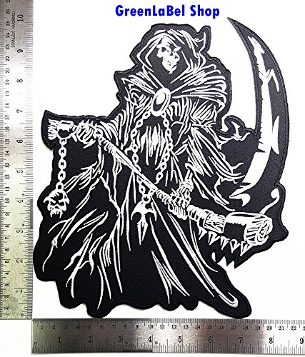 Big Large Jumbo Skull Grim Reaper Motorcycle biker club Patch Logo Sew Iron on Embroidered Appliques Badge Sign Costume Send Free - Delivery Oo Free