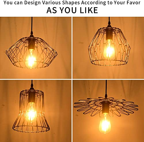 LBTSMUK Black Pendant Light Metal Wire Cage Pendant Hanging Lamp with Black Cage Shade, Industrial Pendant Light Fixture for for Kitchen Restaurants Hotels and Shops