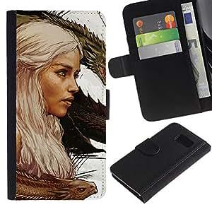 YiPhone /// Tirón de la caja Cartera de cuero con ranuras para tarjetas - Targaryen dragón Madre - Samsung Galaxy S6
