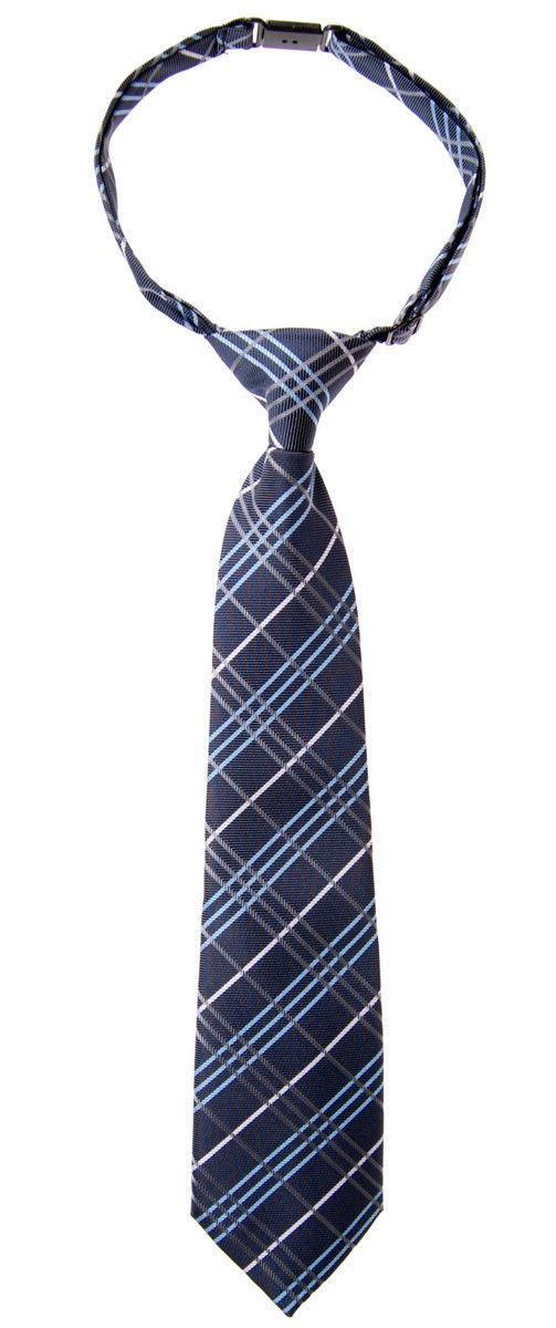 Retreez Tartan Plaid Styles Woven Microfiber Pre-tied Boy's Tie - Navy Blue - 24 months - 4 years