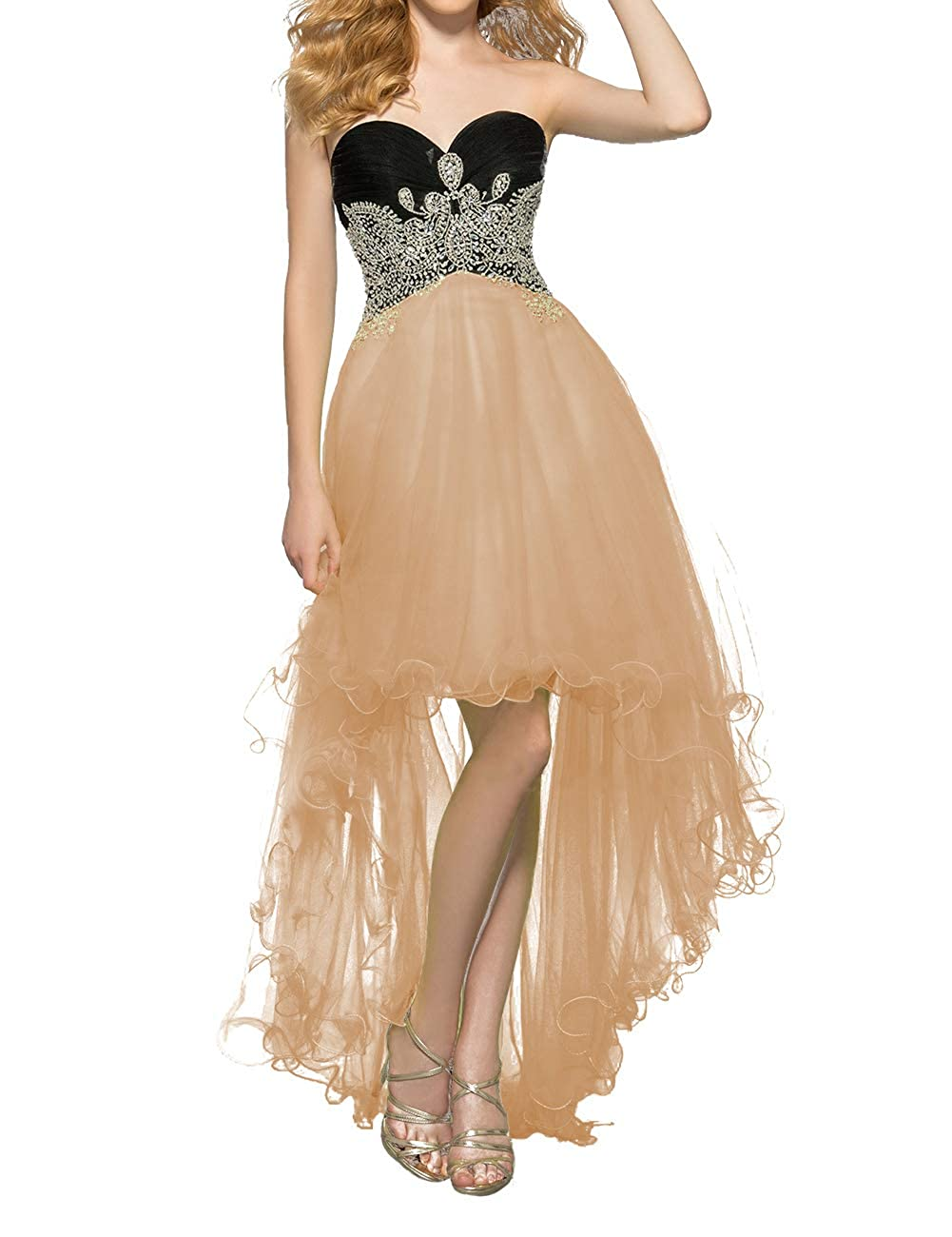 Champagne Uther Women's Tulle HiLow Beaded Prom Dresses Strapless Evening Homecoming Cocktail Gowns