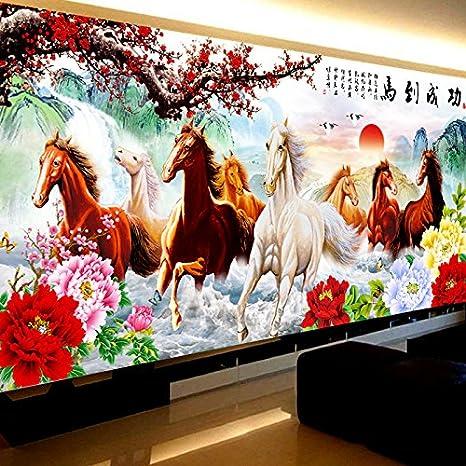 AIGUFENG El caballo para el éxito del país rico puro acabado a mano en punto de cruz ocho caballos mapa paisaje bordado sala de estar,240 * 110 cm: ...