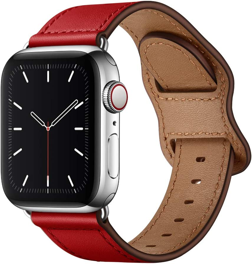 KYISGOS Compatible with iWatch Band 44mm 42mm 40mm 38mm, Genuine Leather Replacement Band Strap Compatible with Apple Watch SE Series 6 5 4 3 2 1 (Red/Silver, 44mm/42mm)