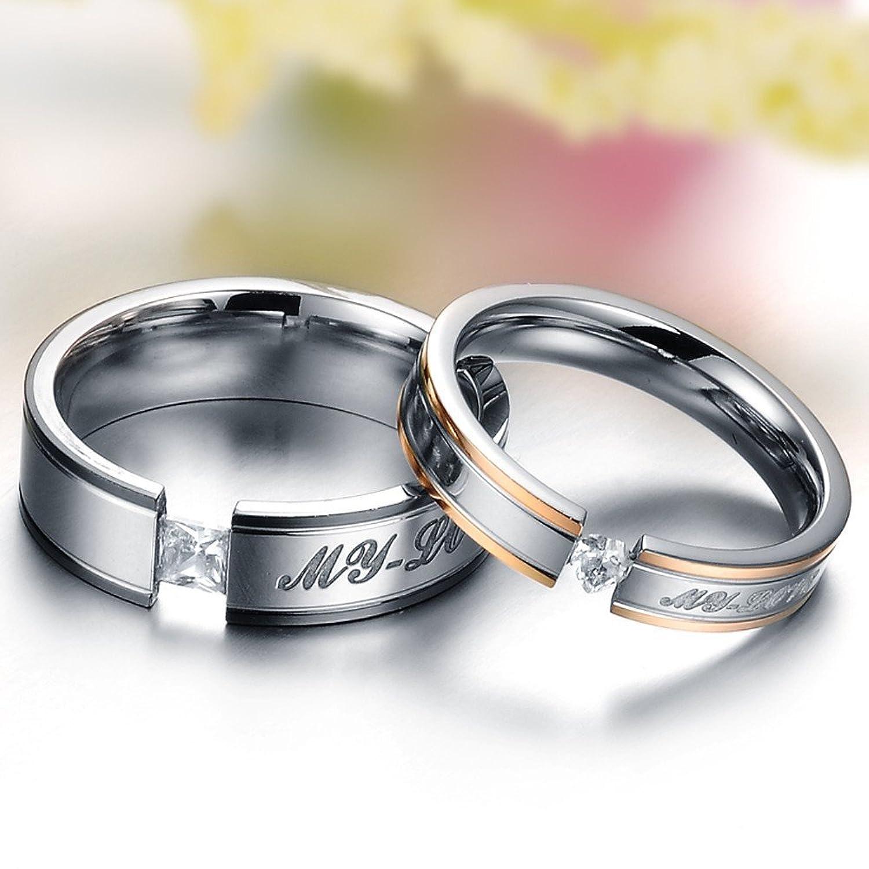 Girlz Silver Titanium Couple Ring For Men Women Amazonin Jewellery