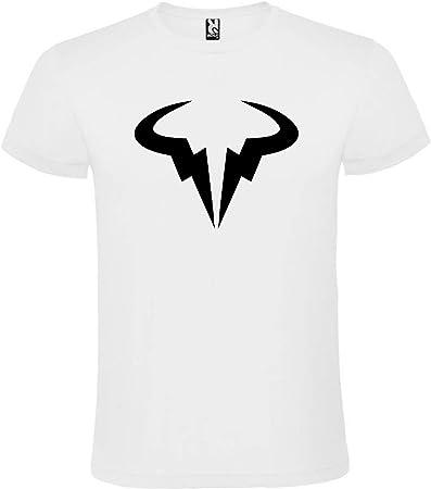 ROLY Camiseta Blanca con Logotipo de Toro Rafa Nadal Hombre 100% Algodón Tallas S M L XL XXL Mangas Cortas