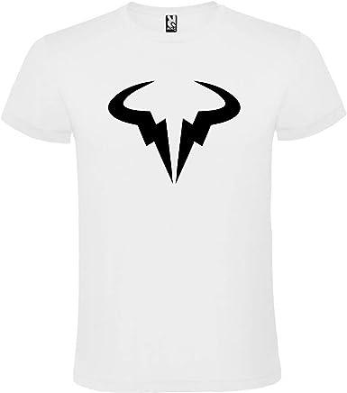 ROLY Camiseta Blanca con Logotipo de Toro Rafa Nadal Hombre 100% Algodón Tallas S M L XL XXL Mangas Cortas: Amazon.es: Ropa y accesorios