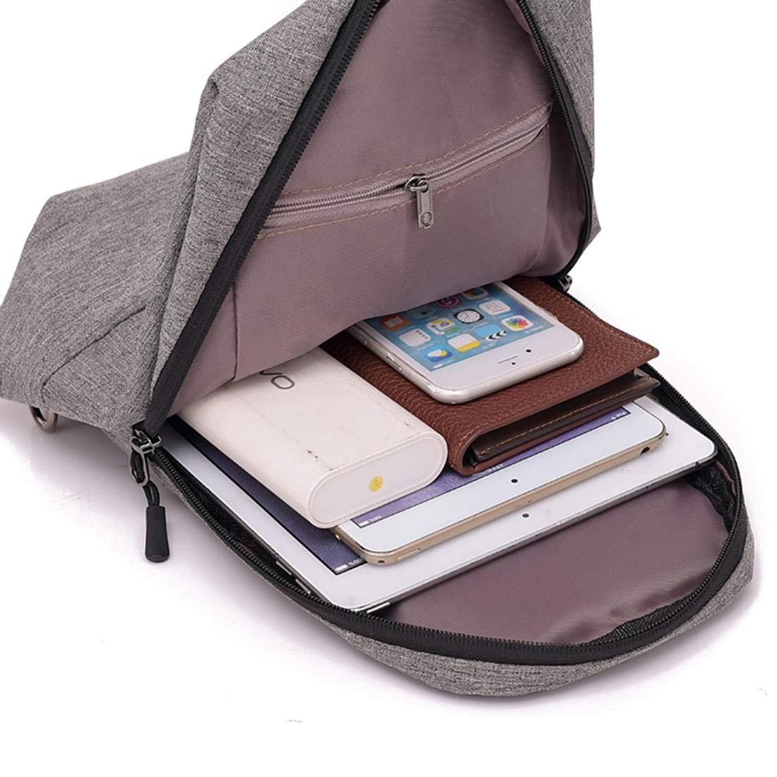 RABILTY Mens Shoulder Bag Sports Canvas Chest Bag Outdoor Diagonal Bag Color : Gray