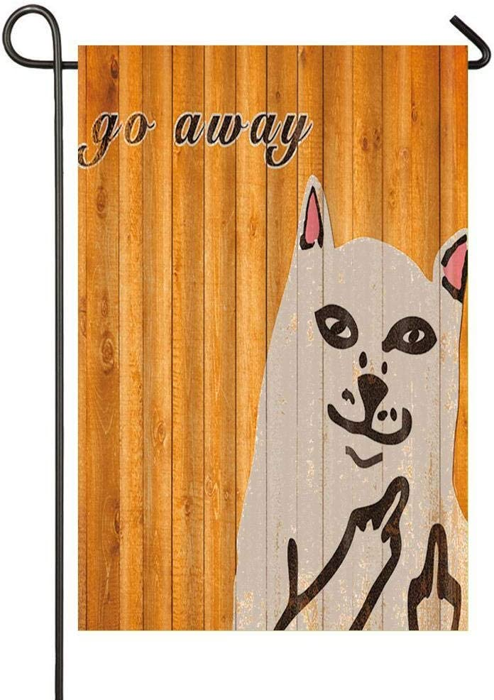 HOOSUNFlagrbfa Cat on Orange Wooden with Word Go Away Garden Flag Welcome Decorative Flags for Party Yard and Home Outdoor Decor