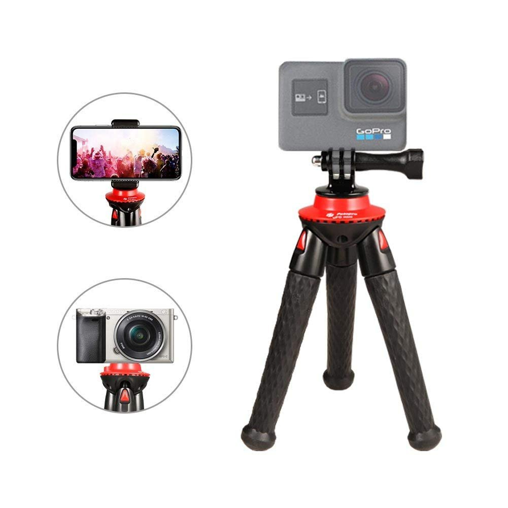 Phone tripod, Fotopro Portable and Flexible Mini Tripod with Bluetooth Remote Control, Universal phone Clip and Gopro Adapter for iPhone, Android Phone, Camera, Sports Camera GoPro