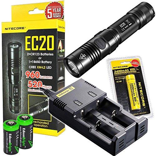 Nitecore EC20 960 Lumen CREE XM-L2 T6 LED Flashlight with Nitecore NL189 3400mAh rechargeable 18650 Battery, Nitecore i2 smart charger and 2 X EdisonBright CR123A Lithium Batteries Bundle