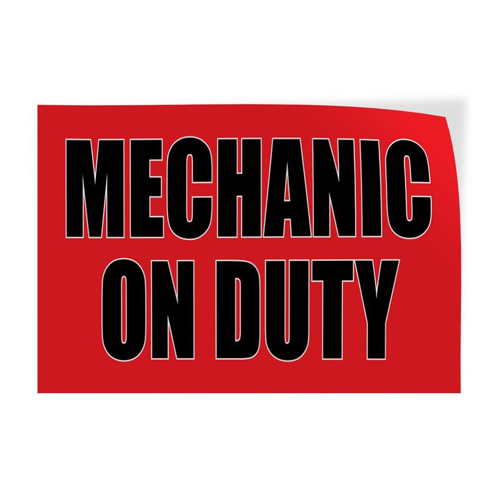 Mechanic On Duty #1 Indoor Store Sign Vinyl Decal Sticker - 14.5inx36in,