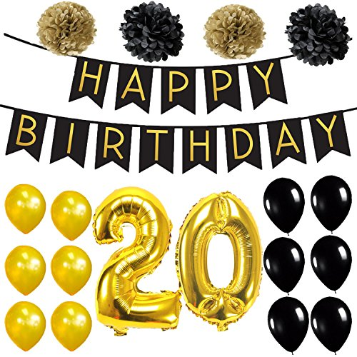 20th BIRTHDAY DECORATIONS PARTY KIT - 20th Birthday Balloons | 20 Gold Number Foil Mylar Balloons | 20th Birthday Banner, Black | 20 Birthday Gold and Black Balloons | 20 (Birthday Balloons Near Me)