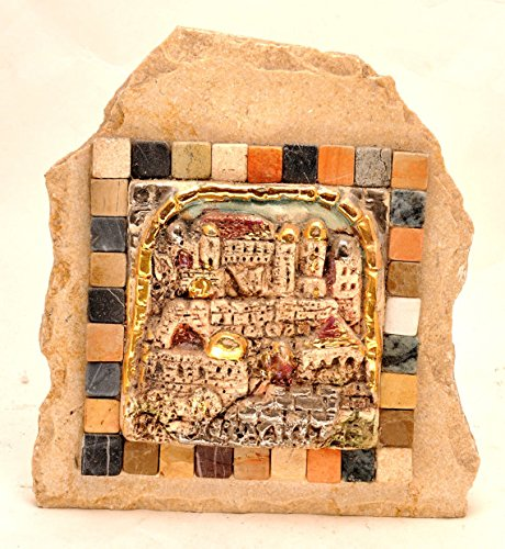 Old Jerusalem City in Marble Stone With Gold & Silver Coating