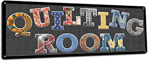 Quilting Room, 6 x 16 Inch Metal Sign, Quilting Theme Wall Decor for Sewing Room, Patchwork and Quilters Shops, Gifts for Quilter, Seamstress, Sewing Instructors and Fabric Stores RK3150 6x16