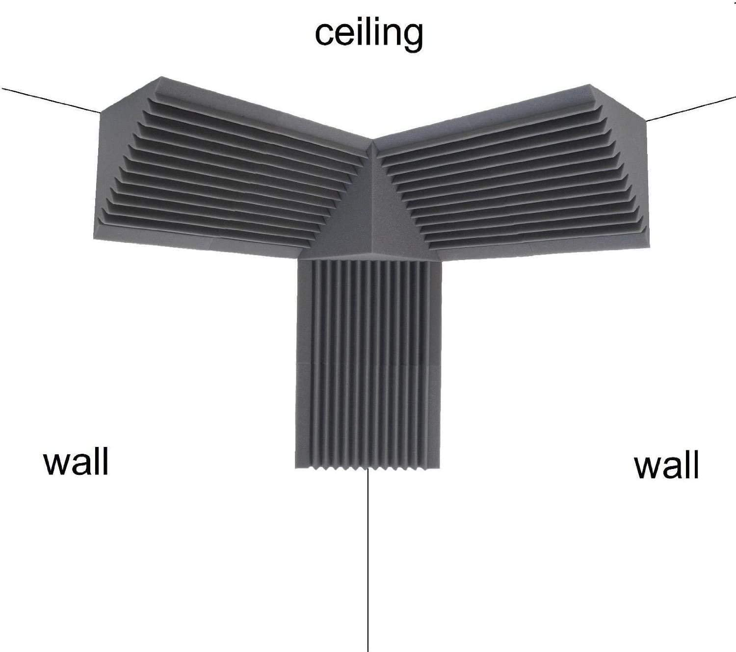 4 Pack Acoustic Foam Bass Trap Recording Studios Corner Wall 12 X 12 X 24 Bass Trap Kit Charcoal Free Shipping Made In Usa
