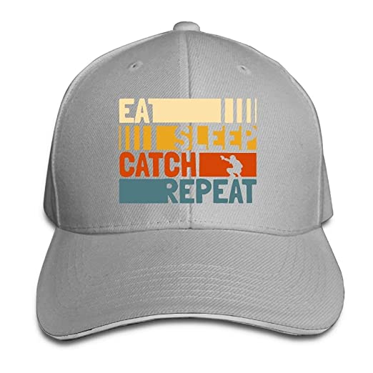 3276313bebf91 GJdd diy Unisex Eat Sleep Catch Repeat Adult Adjustable Snapback Hats  Baseball Cap at Amazon Women s Clothing store