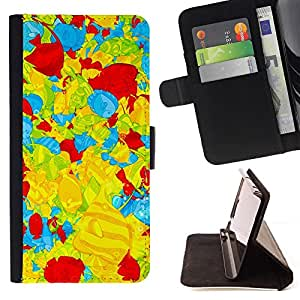 GIFT CHOICE / Billetera de cuero Estuche protector Cáscara Funda Caja de la carpeta Cubierta Caso / Wallet Case for Samsung ALPHA G850 // Yellow Red Blue Fish Digital Art Wallpaper //