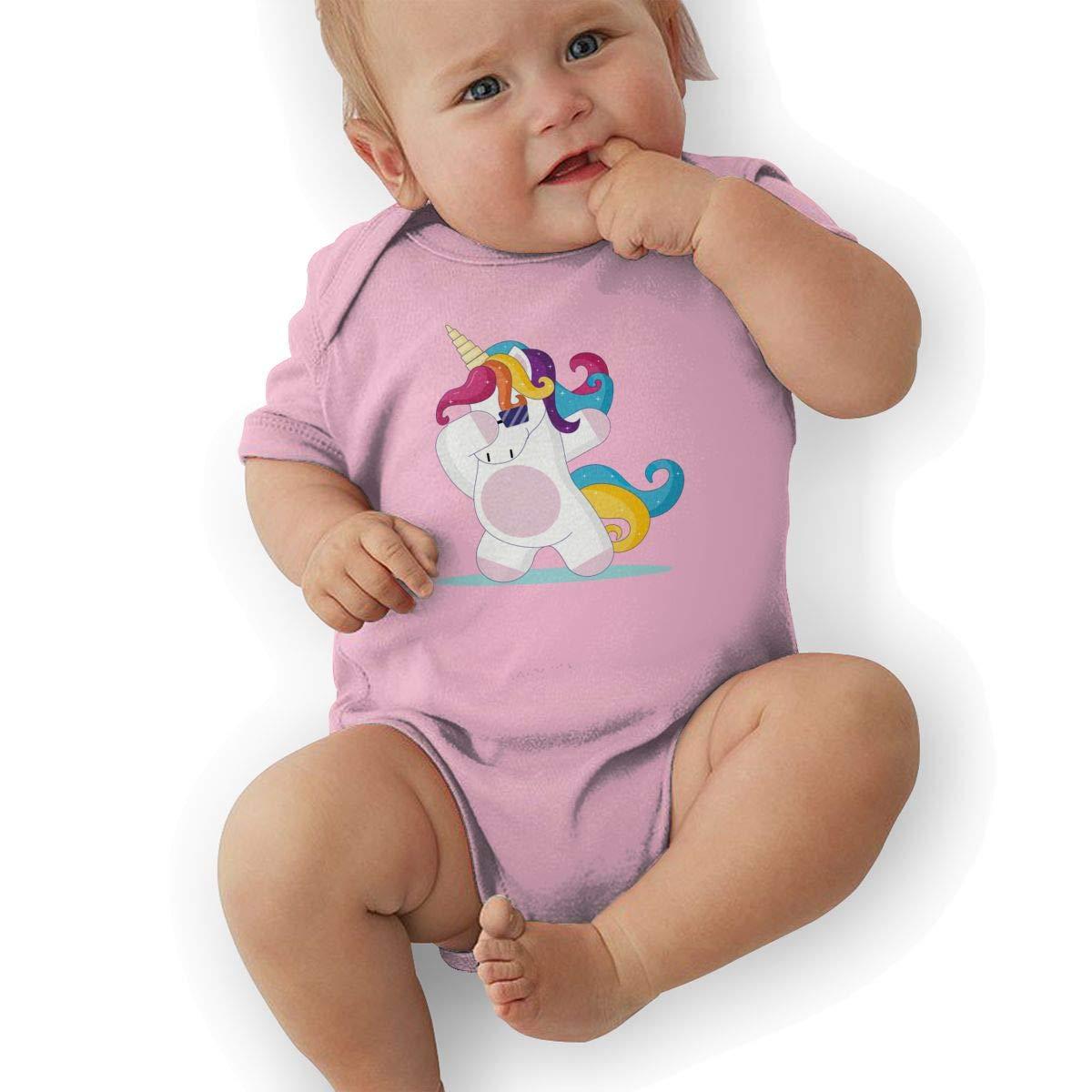 Cute Dancing Unicorn Baby Boys Girls Jumpsuits Short Sleeve Romper Bodysuit Bodysuit Jumpsuit Outfits Pink