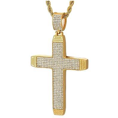 taglia 40 d197b 68706 iMETACLII Uomo Grande Oro Punteggiati Croce Collana con ...
