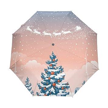 Umbrella Christmas Tree Uk.Tizorax Retro Christmas Tree And Santa Windproof Travel Rain