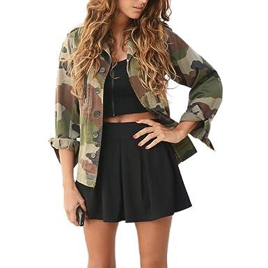 Damen Jacken Longra Frauen Camouflage Jacke Mantel Herbst