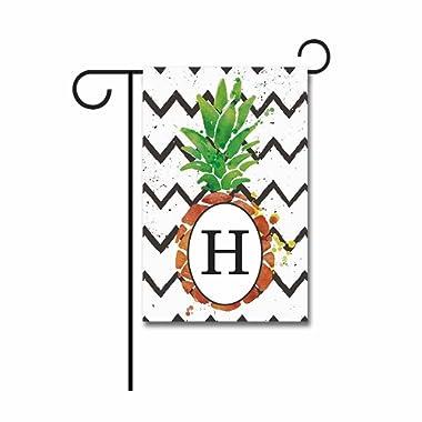 KafePross Pineapple Stripes Garden Flag Monogram H 12.5 x18  Print Both Sides