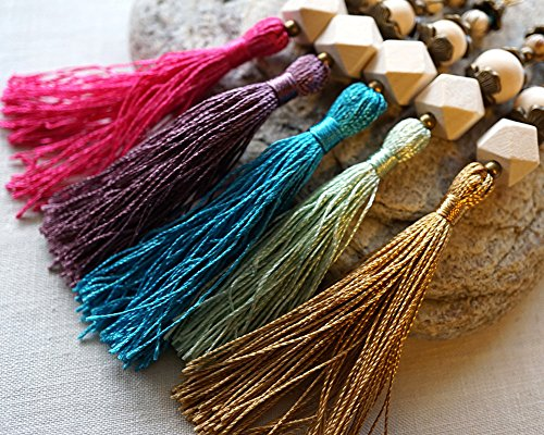 - Tassel Necklace Colorful Silk Tassel Pick Your Color Geometric Wooden Beads Antique Bronze Chain Rustic Bohemian Beaded Pendant Wire Wrapped Tribal Unisex Handmade and Crafted by KapKaDesign