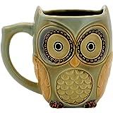 Teagas Cute Owl Mug Cup 12 oz - Cyan Cute Owl Morning Coffee Ceramic Mug