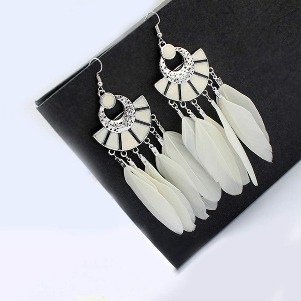 Wansan Colorful Feather Tassel Earrings Fan Shaped Bohemian Ethnic Dangle Hanging Rope Long Tassel Stud Earrings for Women Girls