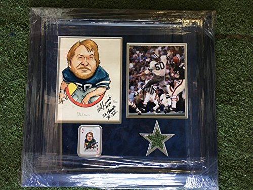 (Custom Framed Dallas Cowboys D.D. Lewis #50 Signed Original Art Illustration Rare HERO Deck Drawing w/ Inscription Actual Signed Playing Card & Photo W/ Authentic Texas Stadium Turf(JSA COA))