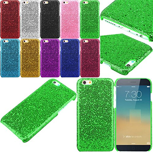 Apple iPhone 6+ / 6s+ Glitter Solid Sequin Case Variety Bling Diamond Luxury Sparkly Cute Girly Kawaii Pretty Shine Twinkle Sparkle Back [Thin Hard Cover] 6 Plus By Tech Express (Green) (Iphone 4 Wall Charger Sparkly)