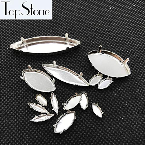 (ASTONISH TopStone All Sizes Navette Metal Setting Closed Back with 4 Holes for Sewiing Glass Rhinestone 3x6~13x48mm: 7x15mm 100pcs)