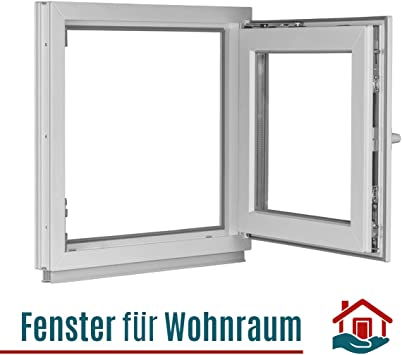Fenster DIN Links anthrazit//wei/ß Kellerfenster BxH: 50 x 50 cm Kunststoff