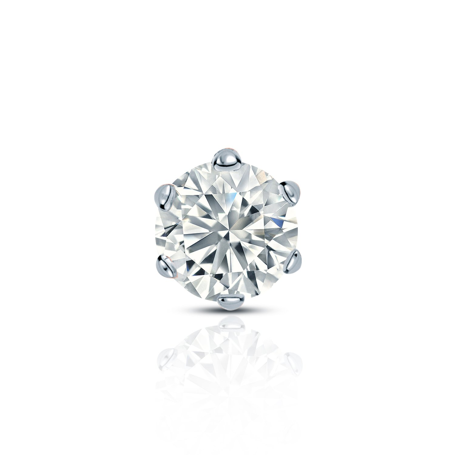 14k White Gold Round Diamond Simulant CZ SINGLE STUD Earring 6-Prong 1//8-1cttw,Excellent Quality